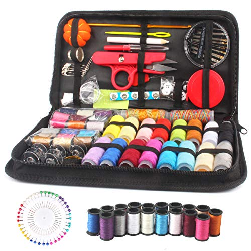 (Sewing KIT, Over 138 Premium Sewing Supplies, Portable &Trael Sewing kit, Emergency Clothing Repair- Mending and Sewing Needles,Scissors, Thimble, Thread,Tape Measure etc10.2