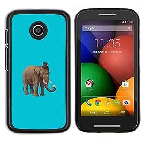 TECHCASE---Cubierta de la caja de protección para la piel dura ** Motorola Moto E ( 1st Generation ) ** --Hipster elefante