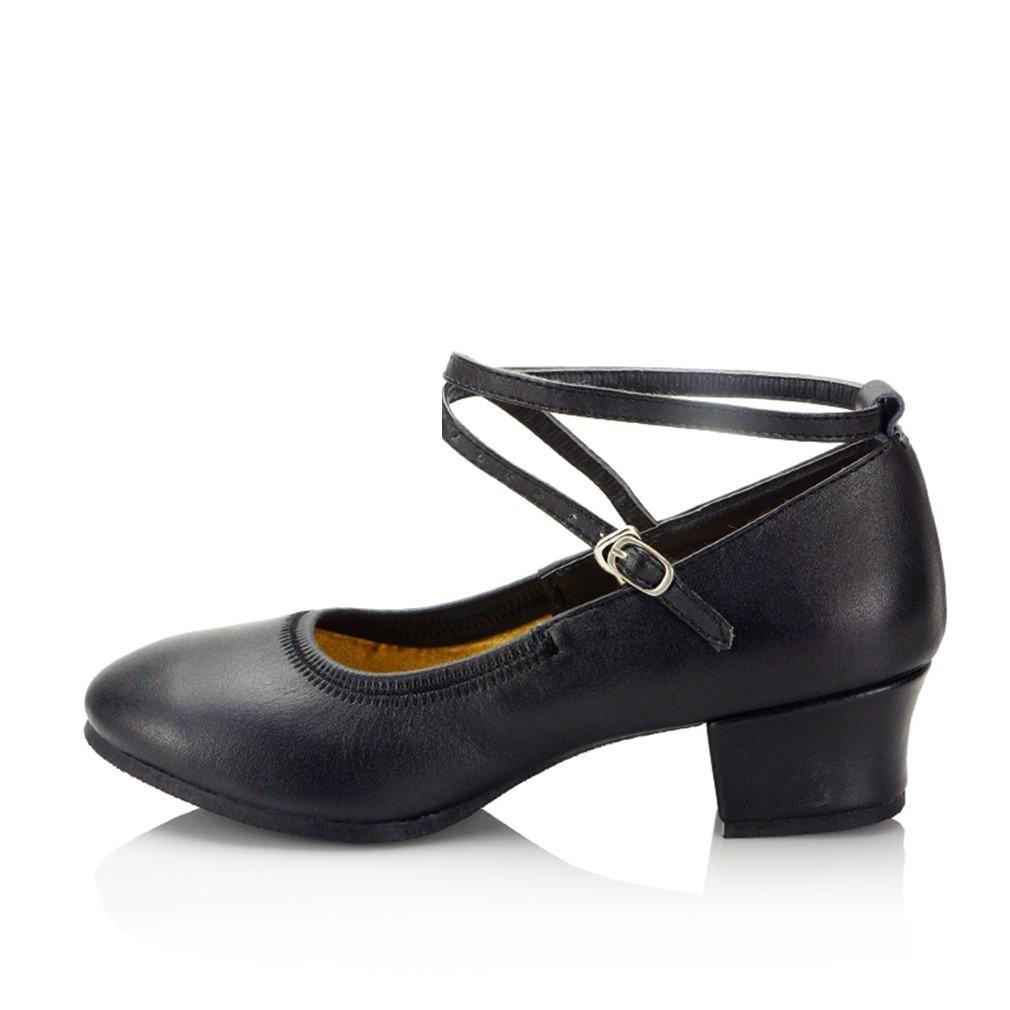 OneCouleur BYLE Sangle de Cheville Sandales en Cuir Chaussures de Danse Modern'Jazz Samba Danse, Chaussures en Cuir Souple, Noir d'été Adultes 3.5CM 35 EU
