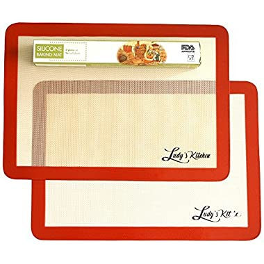 Ludy's Kitchen 2-Pc Silicone Baking Mats - Professional Grade Baking Sheet Liners - Replaces Parchment Papers - Great Gift Ideas - Non-Stick, Durable, & Reusable Silicone Baking Sheets