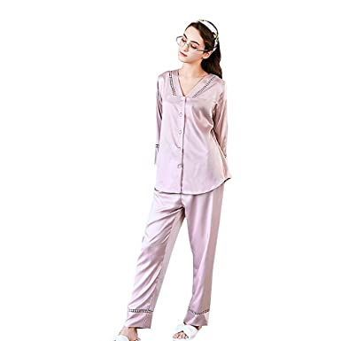 998cd5aa16 Belle Heure Women s Pajamas Set Silk Satin Classic Soft Long Sleeve Pj Set Sleepwear  Loungewear XS