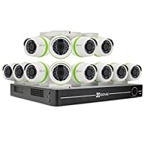 EZVIZ Smart Home 1080p Security Camera System, 12 Weatherproof HD 1080p Cameras, 16 Channel DVR 2TB HDD, 100ft Night Vision, Works with Alexa using IFTTT