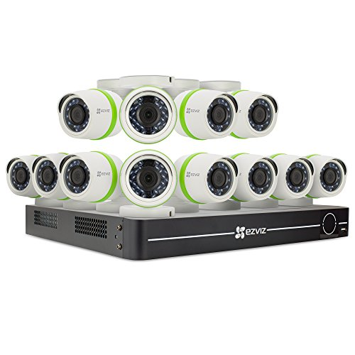 EZVIZ Outdoor 3MP Video Security Surveillance System, 12 Weatherproof HD Cameras, 16 Channel 2TB DVR Storage, 60ft Night Vision, Motion Tracking