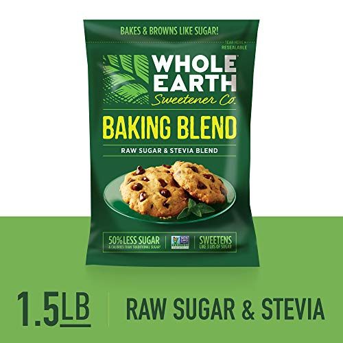WHOLE EARTH SWEETENER Baking Blend, Granular Raw Sugar and Organic Stevia Baking Blend, Baking Sugar and Baking Stevia Mix, 1.5 Pound Pouch (Best Artificial Sweetener For Baking)