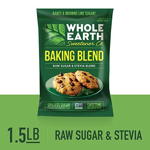 WHOLE EARTH SWEETENER Baking Blend, Granular Raw Sugar and Organic Stevia Baking Blend, Baking Sugar and Baking Stevia Mix, 1.5 Pound Pouch