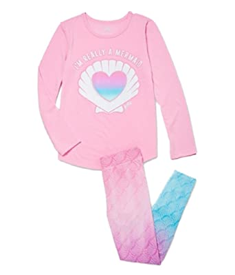 a1c0ac4fb Amazon.com  Justice Girls Mermaid Heart Pajama Set Pink Heart  Clothing