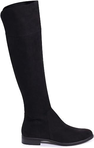 Linzi Suzanne - Black Suede Flat Knee