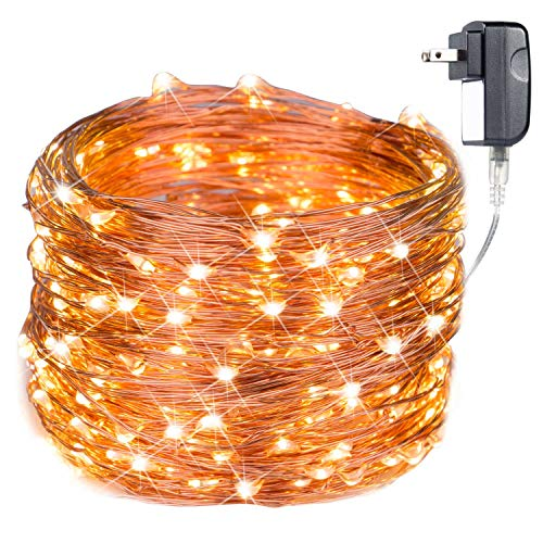 300 LED Fairy Lights 100 Ft Firefly String Lights Waterproof Starry Lights on Copper Wire Perfect for Christmas Party DIY Wedding Bedroom Indoor Party Decorations Warm White (Christmas Lights With Garland Led)