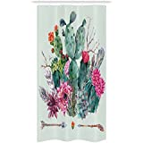 Cactus Decor Stall Shower Curtain by Ambesonne, Spring Garden with Boho Style Bouquet of Thorny Plants Blooms Arrows Feathers, Fabric Bathroom Decor Set with Hooks, 36 W x 72 L Inches, Multicolor
