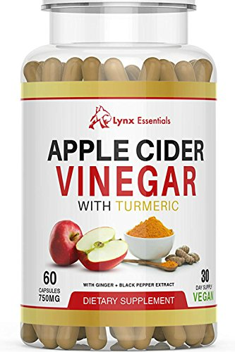 Apple Cider Vinegar Capsules for Weight Loss - Extra Strength 1500 mg - Vegan ACV Pills - with Turmeric, Ginger and Black Pepper Extract