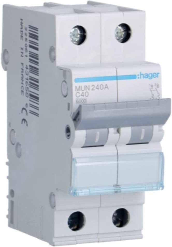 Hager MUN240A Disjoncteur /à d/éclenchement magn/étothermique S/érie MU 2P 6/kA 40/A Courbe/C