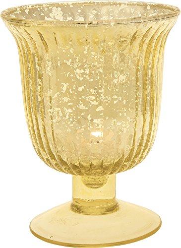Fluted Large Urn (Luna Bazaar Vintage Mercury Glass Vase (5-Inch, Emma Design, Fluted Urn, Gold) - Decorative Flower Vase - For Home Decor, Party Decorations, and Wedding Centerpieces)