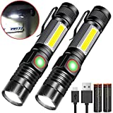 Magnetic Led Torch,Karrong Bright Rechargeable Work Torch 4 Modes with COB Side Light for Outdoor Mechanic or More (2 Pack with Battery)