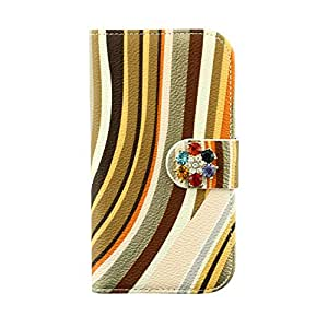 Galaxy S4 Case Flip @Uncle.Y Leather Irregular Wallet Stripe Diamond Colrful Magnet Button For Samsung Galaxy S4 I9500 Style 1