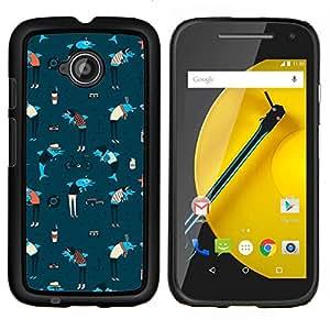 YiPhone /// Prima de resorte delgada de la cubierta del caso de Shell Armor - Delfines Ancla Art Wallpaper azul colorido - Motorola Moto E2 E2nd Gen