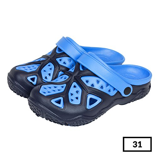 Sabot zoccoli slip on ciabatte in materiale EVA per bambini, taglia 31, colore: blu / azzurro