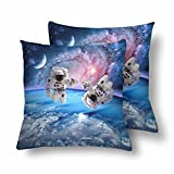 InterestPrint Astronaut Spaceman Outer Space Moon Planet Solar System Universe Pillowcase Throw Pillow Covers 18x18 Set of 2, Pillow Sham Cases Protector for Home Couch Sofa Bedding Decorative