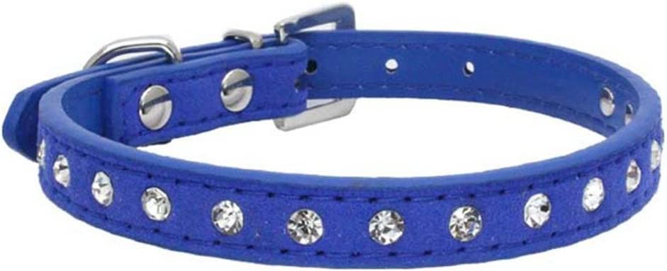 Benala Soft Seude Leather Full Rhinestone Dog Collar Sparkly Crystal Diamonds Studded Puppy Pet Collar for Small Medium Breeds