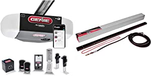 Genie StealthDrive Connect Model 7155-TKV Smartphone-Controlled Ultra-Quiet Strong Belt Drive Garage Door Opener & Garage Door Opener Extension Kit for 5-Piece Belt-Drive Tube Rails, Metallic