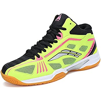 Mishansha Badminton Shoes for Men Non Slip Indoor Court Volleyball Tennis Sneakers Safety Training Shoe Yellow