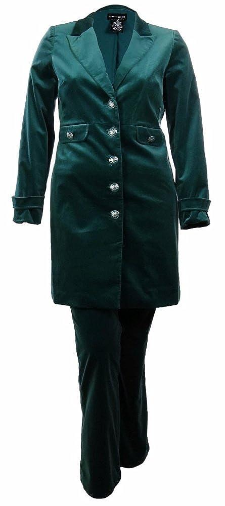 Sutton Studio Women's Velvet Military Jacket And Bootcut Pant Set
