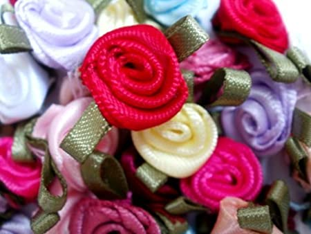 One Random fabric Ribbon Lace And Button craft packs Approx 30 Items