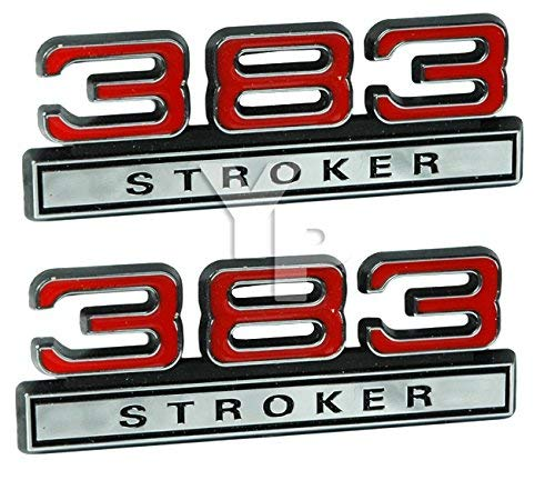 383 6.2 Liter Stroker Engine Emblems in Chrome & Red - 4