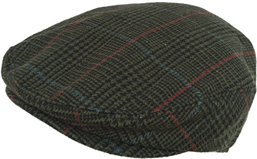 Plaid Wool Blend Ivy Scally Cap (Green / X-Large)