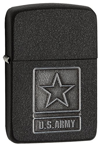 Zippo 1941 Replica US Army Emblem Pocket Lighter, Black (Black Crackle Lighter)