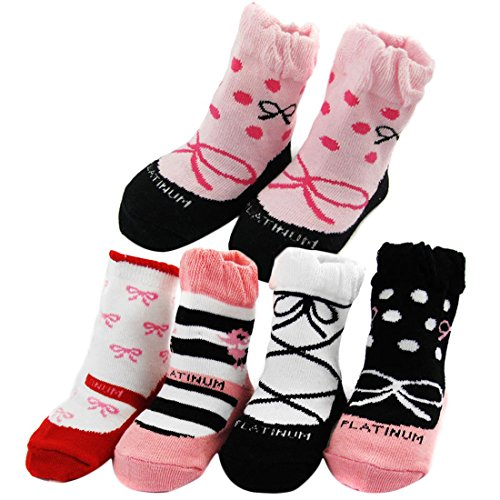 KF Baby Non-Skid Baby Girl Shoe Socks, 5 pairs, Infants to Toddlers