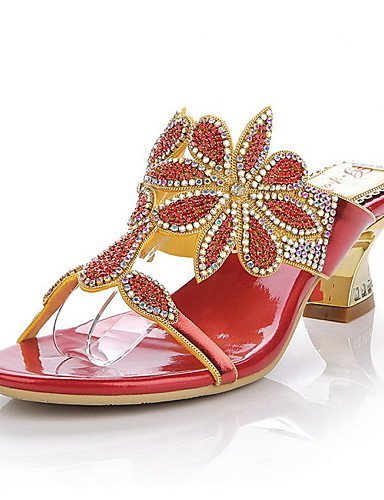 ShangYi Womens Shoes Leather Chunky Heel Heels Sandals / Slippers Party & Evening / Dress / Casual Red / Gold Red