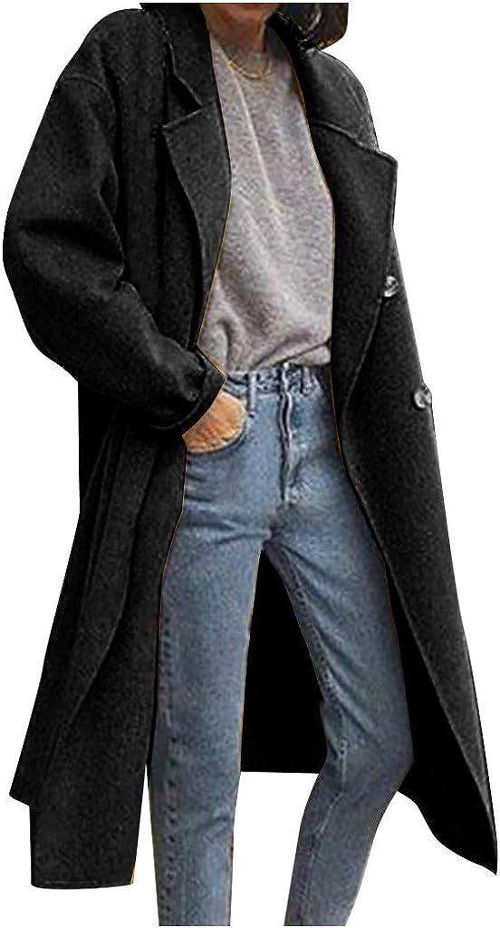 SDKLJ Fashion Women Long Plus Size Woolen Trench Coat Solid Color Long Sleeve Windbreaker Jacket Double Breasted Coat