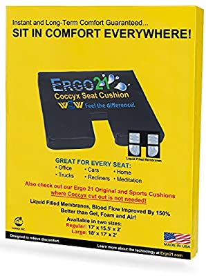 Ergo21 Liquicell Coccyx Cushion - Better Than Gel, Foam, and Air! Liquid-Filled Membranes. Blood Flow Improved by 150%