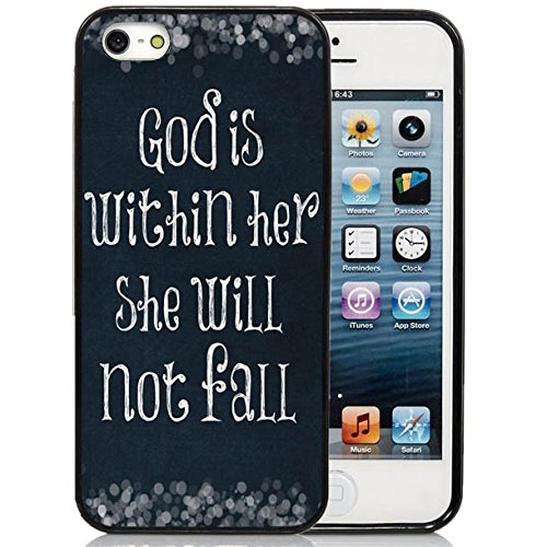 iPhone 5C Case,iPhone 5C Black Case, Dsigo TPU Full Cover Protective Case for New Apple iPhone 5C - God is within her she will not fall