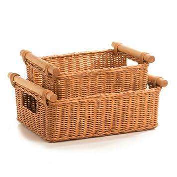 Amazon.com: The Basket Lady DVD Or Paper Wicker Storage Basket, Large,  Antique Walnut Brown: Home U0026 Kitchen