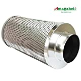 "Image of Amagabeli 4"" Carbon Filter for Indoor Plants Grow Tent Air Filters 4 Inch Activated Virgin Charcoal Air Scrubber 1050+ IAV Odor Control for Inline Fan Hydroponics Grow Room Ventilation Pre-filter"