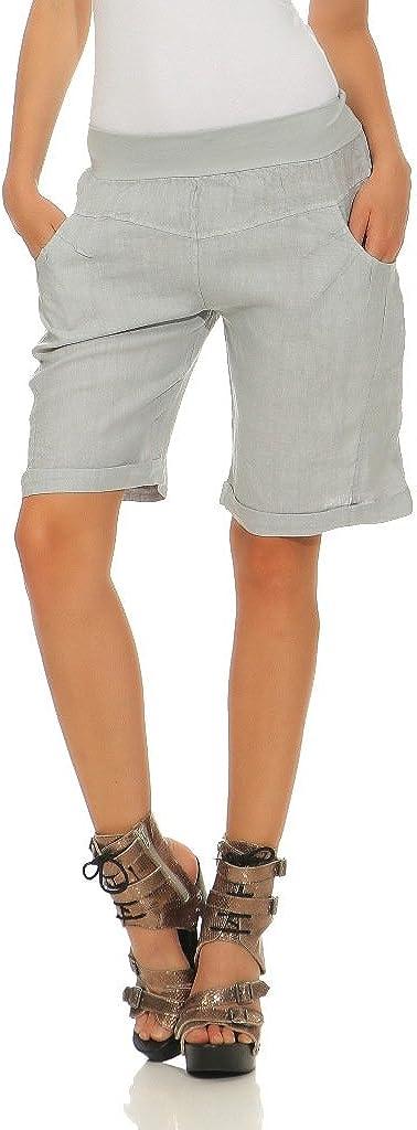 Mississhop Damen Leinenshorts Bermuda lockere Kurze Hose Freizeithose 100/% Leinen Shorts Elegante Haremshose mit Kn/öpfen Sommer Strand
