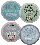 Angelstar 13427 Rachel Anne Round 4 Piece Coaster Set, 4'', Multicolor