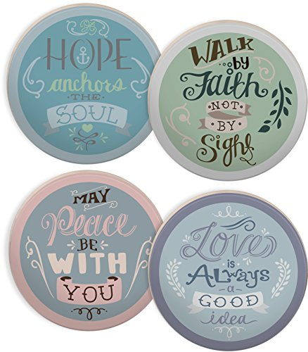 Inspirational Coasters - Angelstar 13427 Rachel Anne Round 4 Piece Coaster Set, 4