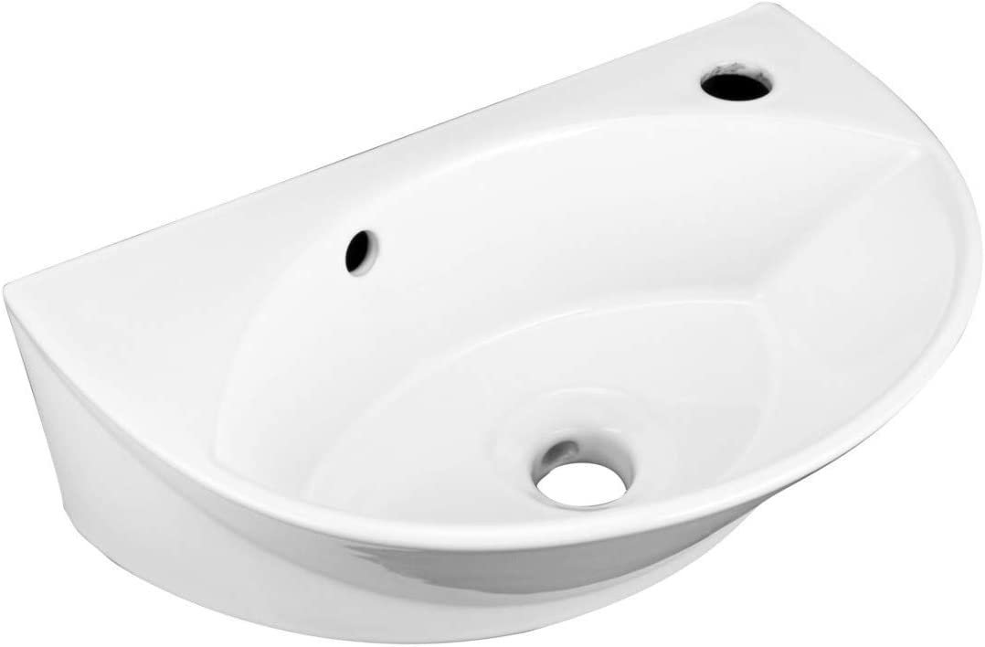 Juniper Wall Mounted Bathroom Sink Small White Heavy Duty Porcelain With Overflow And Pre Drilled Single Faucet Hole Oval Modern Space Saving Design 17 1 8 Inch Renovators Supply Manufacturing