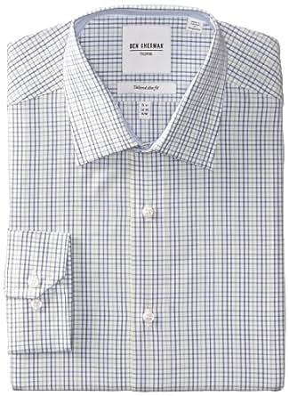 "Ben Sherman Men's Slim Fit Check Dress Shirt, Multi, 14.5"" Neck 32""-33"" Sleeve"