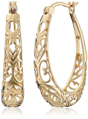 Gold Womens Earring (18k Yellow Gold Plated Sterling Silver Filigree Oval Hoop Earrings)