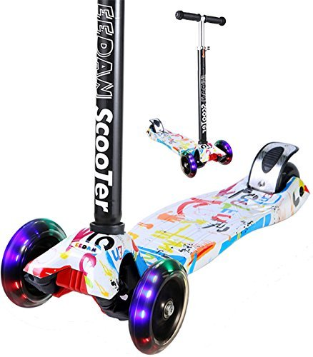 EEDan Scooter for Kids 3 Wheel T-bar Adjustable Height handle Kick Scooters with Max Glider Deluxe PU Flashing Wheels Wide Deck for Children from 2 to 14 Year-Old (Deluxe Flashing Kit)