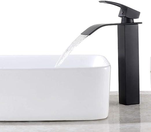 Auralum Grifo de cascada para ba/ño monomando Ca/ño de alta cascada grifo de lavabo estilo retro para ba/ño negro