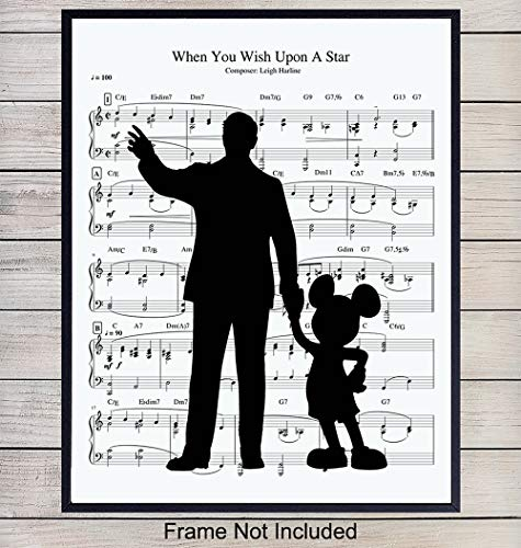 Walt Disney and Mickey Mouse Music Wall Art Print - 8X10 Vintage Unframed Photo - Perfect Gift For Disney Fans, Great For Home Decor