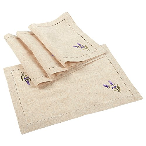 Juvale Placemats Set – 4-Set Dining Table Mats with Embroidered Lavender for Kitchen, Dining Table Decor, Brown, 19.25 x 14 Inches
