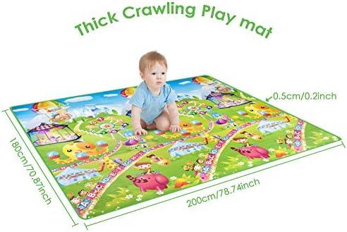 Kids Play Mat Dual-Sided Crawling Mat Anti-Slip Game Blanket for Baby Children