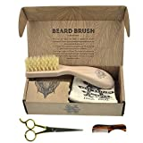 BRD2 BUN Set of Kent BRD2 Boar Bristle Beard Brush + Kent 81T Handmade Sawcut Mustache Comb + Camila Solingen CS07 German Moustache Barber Scissors Shaving and Grooming Kit Bundle Best Gift for Men