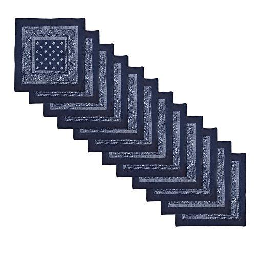 Alotpower Bandanas 100% Cotton Headbands Handkerchiefs 12 pack,Navy Blue