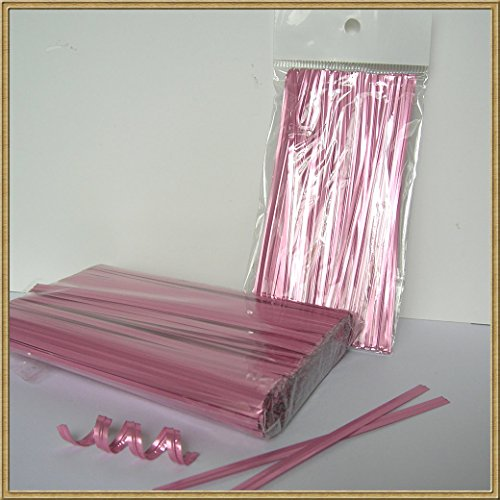 1000pcs 4'' LIGHT PINK metallic twist ties foil twist ties for cello bags treat bags in birthday party wedding party by Weststone